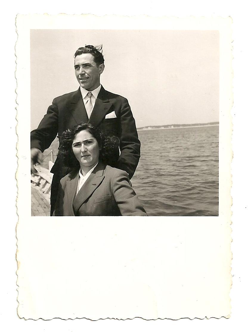 Mario & Edith Casol, parents of Maryse, during their honeymoon at the Bassin d'Arcachon, Atlantic Ocean, France, 1954.