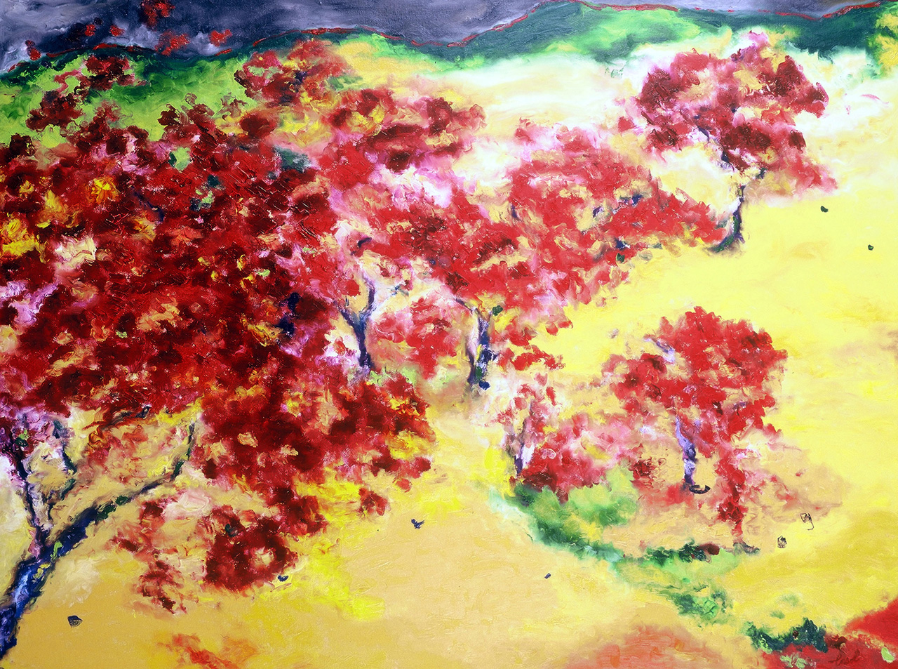 Maryse Casol, Cerisiers en Fleurs painting, 2005