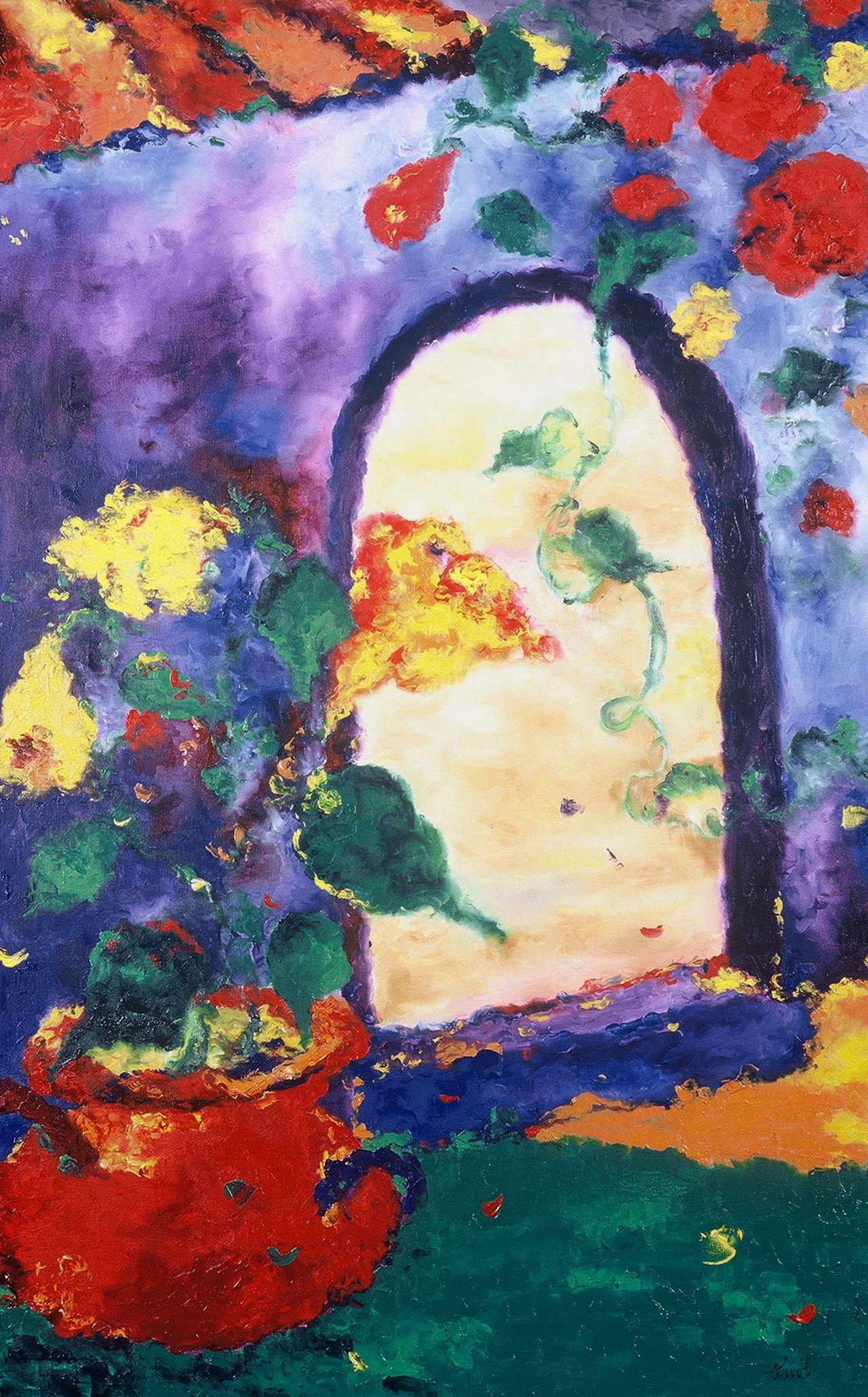 Maryse Casol, Geranium de Murano painting