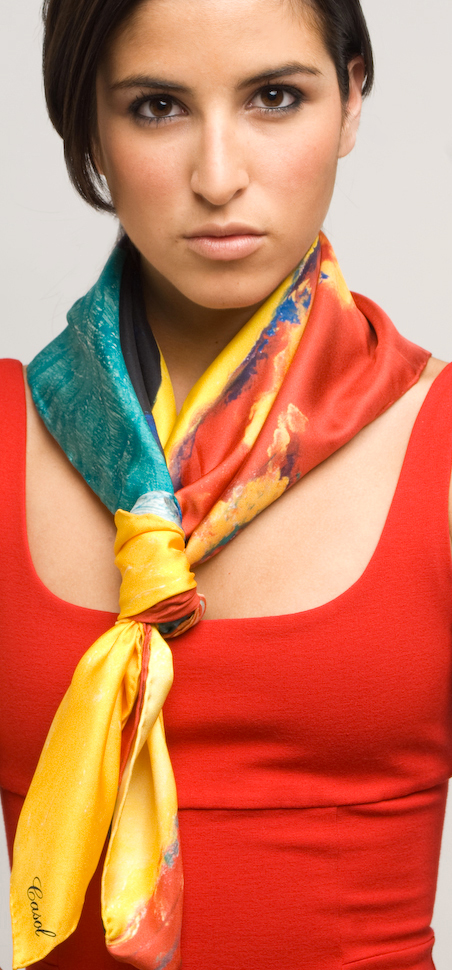Maryse Casol, Melodia Gitana silk scarf, New York City photoshoot