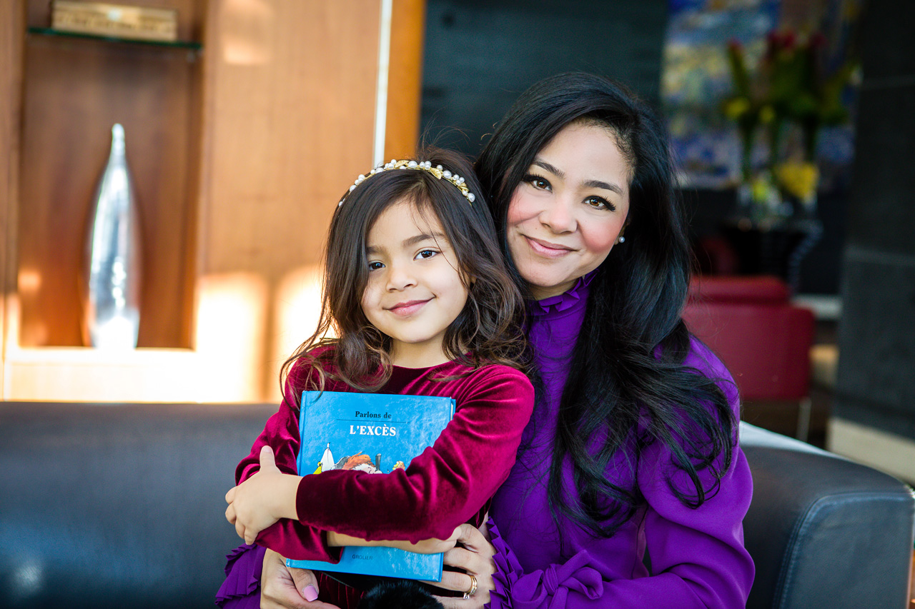 Valentina Casol with her mother Noriko, Sofitel Montreal, January 14, 2018